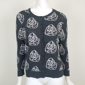 LOFT Rose Floral Cardigan Sweater Size Medium